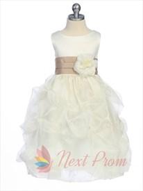White Flower Girl Dress With Black Sash, Flower Girl Dress Tulle