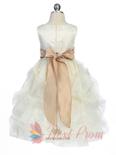 White Flower Girl Dress With Black Sash, Flower Girl Dress Tulle