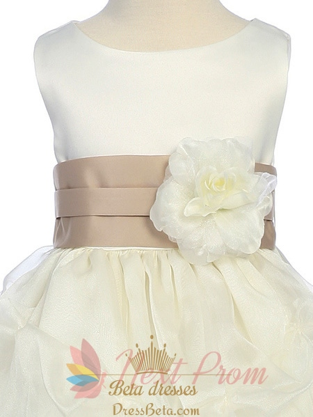 White Flower Girl Dress Black Sash 35