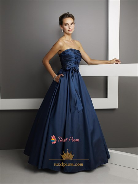 Cheap Strapless Dark Navy Blue Prom Dresses 2019 Long UK