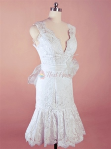 Short White Lace Wedding Dresses, Short V Neck Wedding Dresses
