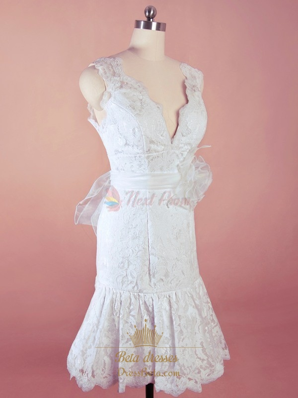 Short White Lace Wedding Dresses Short V Neck Wedding