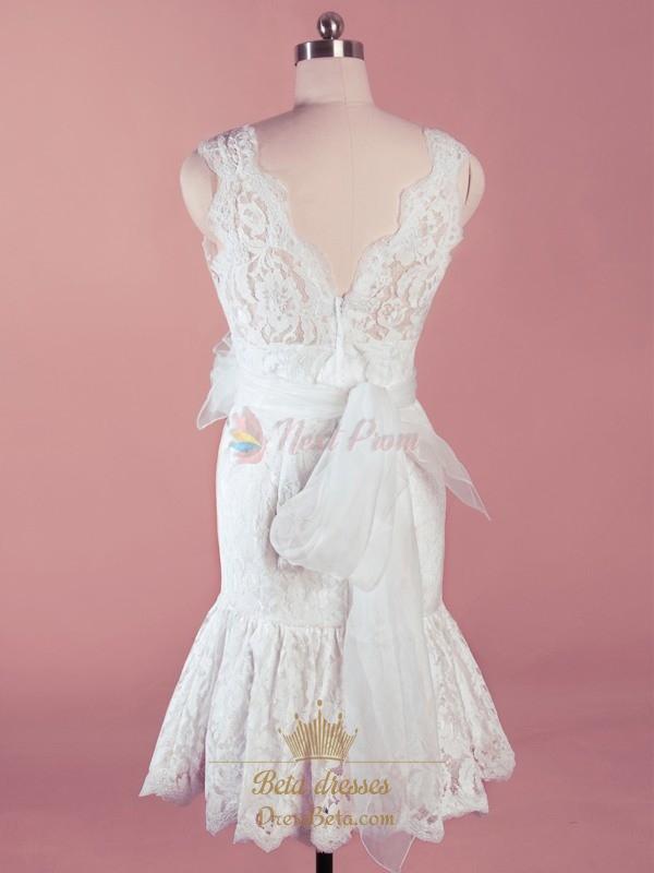 Short white lace wedding dresses short v neck wedding for Buy short wedding dress