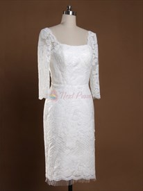 Long Sleeve Short Lace Wedding Dresses, Short Scoop Neck Wedding Dress