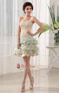 Organza Strapless Short Cocktail Prom Dress, Short Homecoming Dresses
