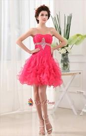 Hot Pink Short Homecoming Dresses, Short Hot Pink Sweet 16 Dresses