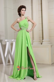 Long Green One-Shoulder Chiffon Prom Dress, Chiffon Bridesmaid Dresses