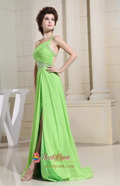 Long Green One-Shoulder Chiffon Prom Dress, Chiffon Bridesmaid Dresses
