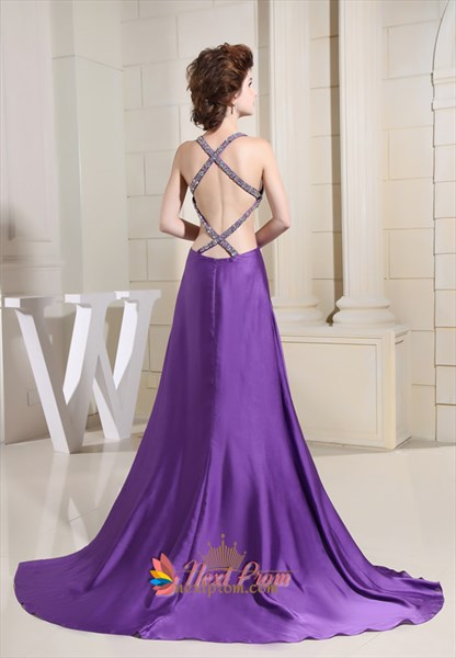 Floor Length Dresses With Open Back, Purple Violet Prom Dresses