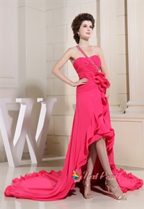 Stunning Pleated Hot Pink Chiffon High Low One Shoulder Prom Dresses