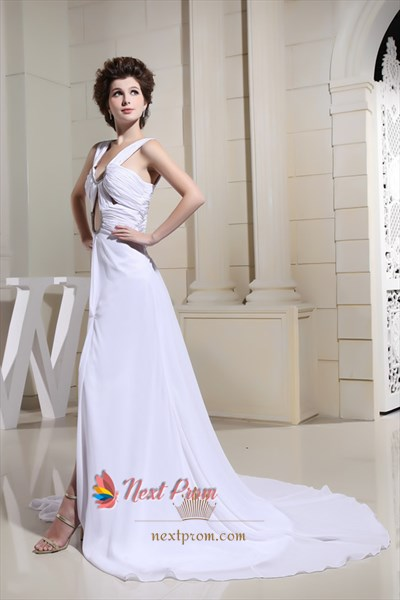 Charming White Chiffon Keyhole Side Cut Out Evening Dresses With Train