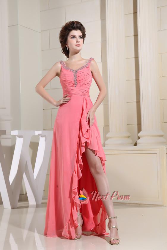 Beading Pleated Floor Length Chiffon Coral Front Slit Evening Dresses,Beading Pleated Floor Length Chiffon Coral Front Slit Evening Dresses
