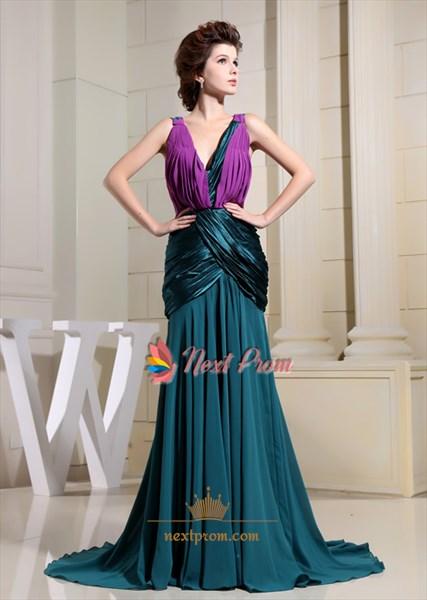 Sizzling Hunter Green And Violet Pleated V-Neck Mermaid Formal Dresses
