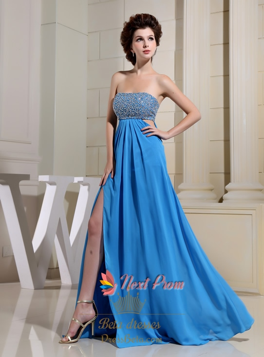 Strapless Aqua Blue Chiffon Long Front Slit Empire Waist Prom ...