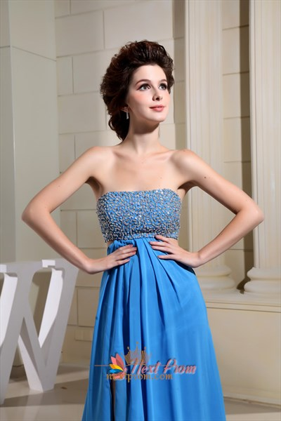 Strapless Aqua Blue Chiffon Long Front Slit Empire Waist Prom Dresses