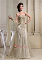 A-Line Sweetheart Formal Gowns Soft Net Empire Waist Prom Dresses 2021