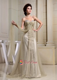 A-Line Sweetheart Formal Gowns Soft Net Empire Waist Prom Dresses 2019
