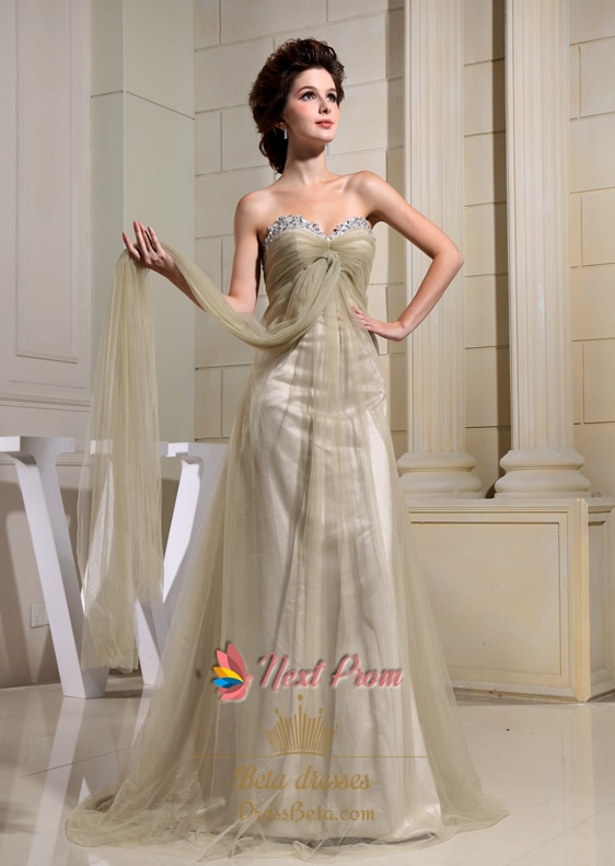 A-Line Sweetheart Formal Gowns, Soft Net Prom Dresses, Empire Waist ...