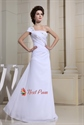 Twinkling White Chiffon Beading Pleated One Shoulder A-Line Prom Dress