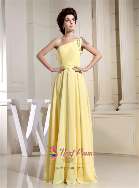 Grace Yellow Chiffon Floor Length Prom Gown One Shoulder Evening Dress