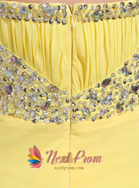 Strapless A-Line Beading Yellow Chiffon Long Empire Waist Evening Gown