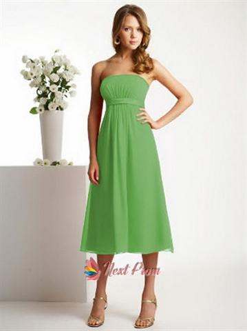Lime Green Bridesmaid Dresses, Tea Length Chiffon Bridesmaid Dresses