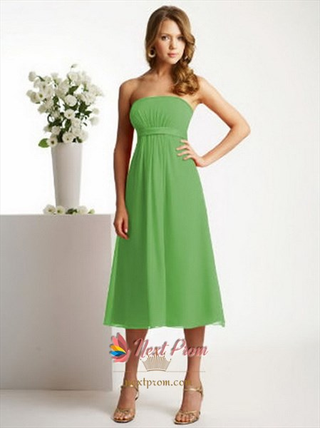 Lime Green Bridesmaid Dresses, Tea Length Chiffon Bridesmaid Dresses