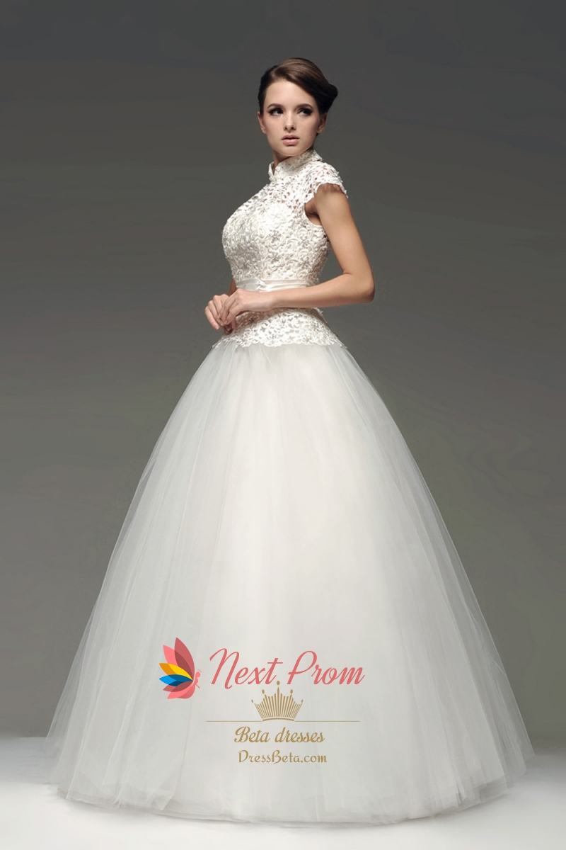 High neck floor length ball gown lace wedding dress with for Wedding dress high neck
