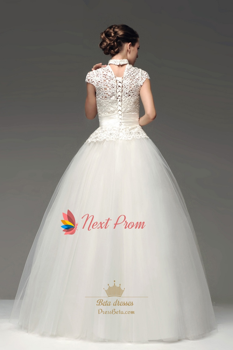 High neck floor length ball gown lace wedding dress with for Short lace wedding dress with sleeves