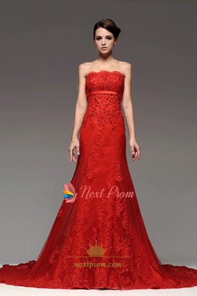 Strapless Red Mermaid Bridal Gown Chapel Train Appliques Wedding Dress