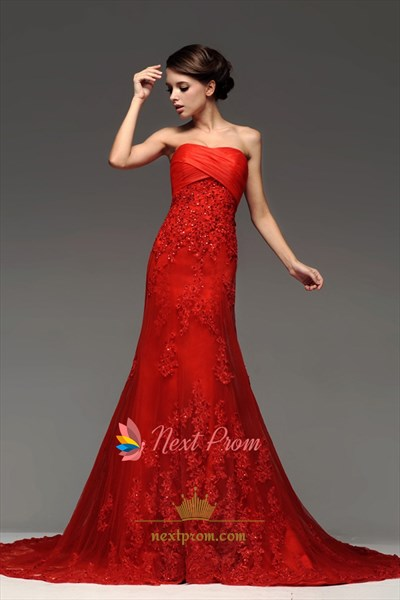 Red Strapless Trumpet/Mermaid Empire Waist Ruched Lace Wedding Dress