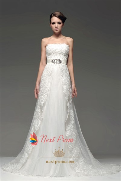Ivory Strapless Appliques Lace Beaded A-Line Chapel Train Bridal Gowns
