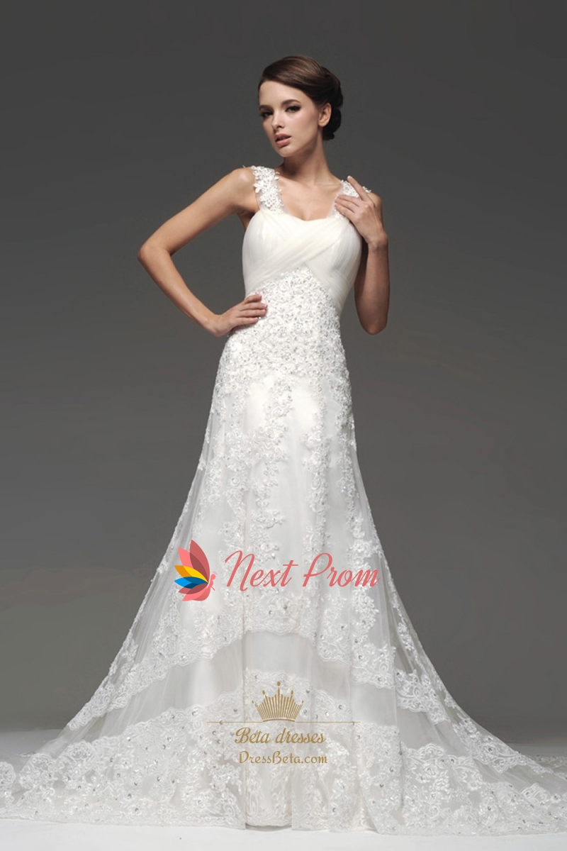 Mermaid chapel train lace appliques tulle wedding dresses for Mermaid wedding dress with straps
