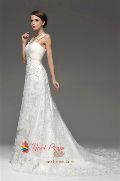 Mermaid Chapel Train Lace Appliques Tulle Wedding Dresses With Straps