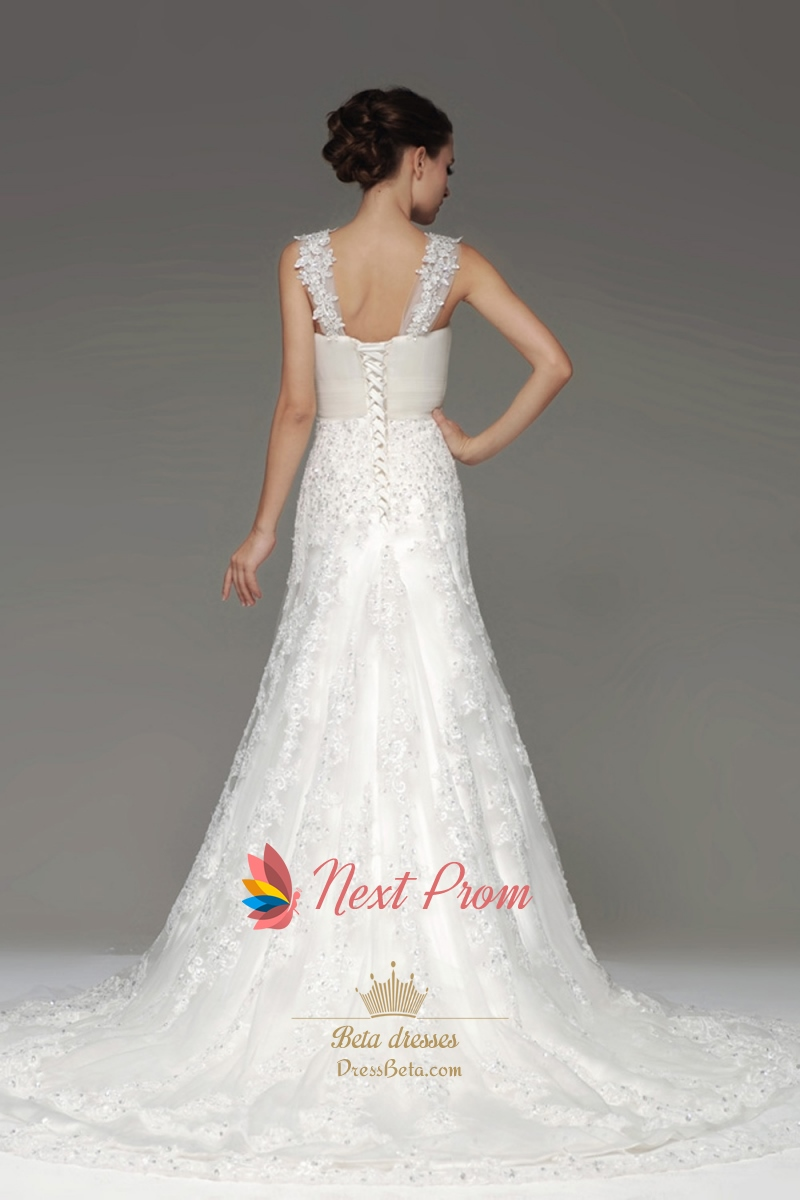 Mermaid chapel train lace appliques tulle wedding dresses for Lace wedding dress with straps