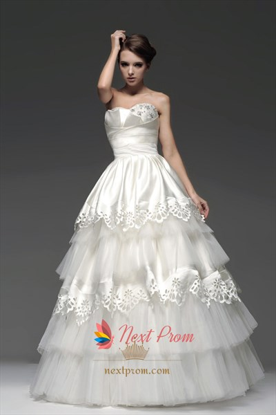 Layered Wedding Gown, Strapless Tiered Tulle Ball Gown With Embroidery