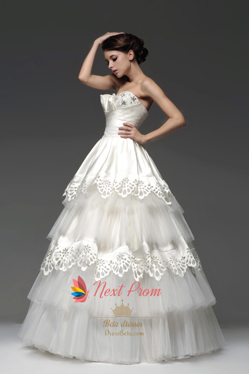 Layered Wedding Gown Strapless Tiered Tulle Ball Gown