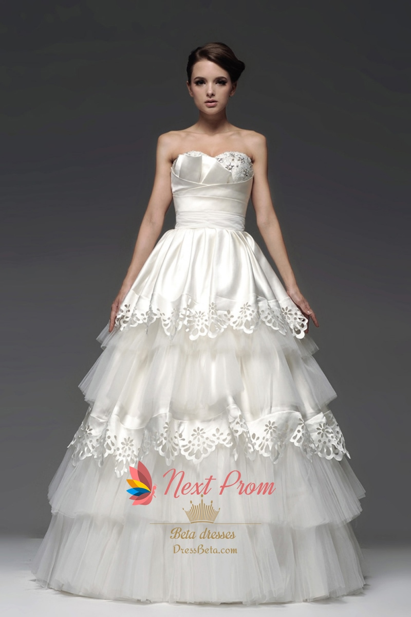 Layered wedding gown strapless tiered tulle ball gown for Tulle layered wedding dress