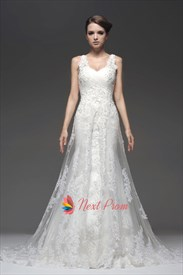 Ivory Empire Lace Mermaid Beading Appliques Wedding Dress With Straps