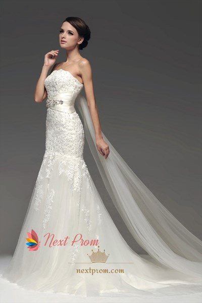 Strapless Ivory Mermaid Tulle Wedding Dress With Appliques And Lace-Up