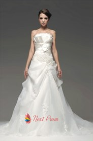 Crumb-Catcher Bodice Wedding Dress, Organza Drop Waist Wedding Dresses