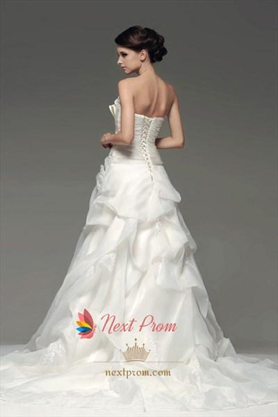 Crumb-Catcher Bodice Wedding Dress, Organza Drop Waist Wedding Dresses