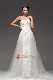 Strapless Mermaid Wedding Dress With Lace, Drop Waist Wedding Dresses