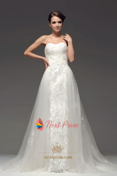 Strapless Mermaid Wedding Dress With Lace, Drop Waist Wedding Dresses
