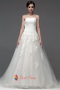 Strapless Wedding Dress With Train, Beaded Lace Applique Wedding Dress