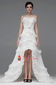 Ruffled Organza Wedding Dress, Strapless High Low Wedding Gowns