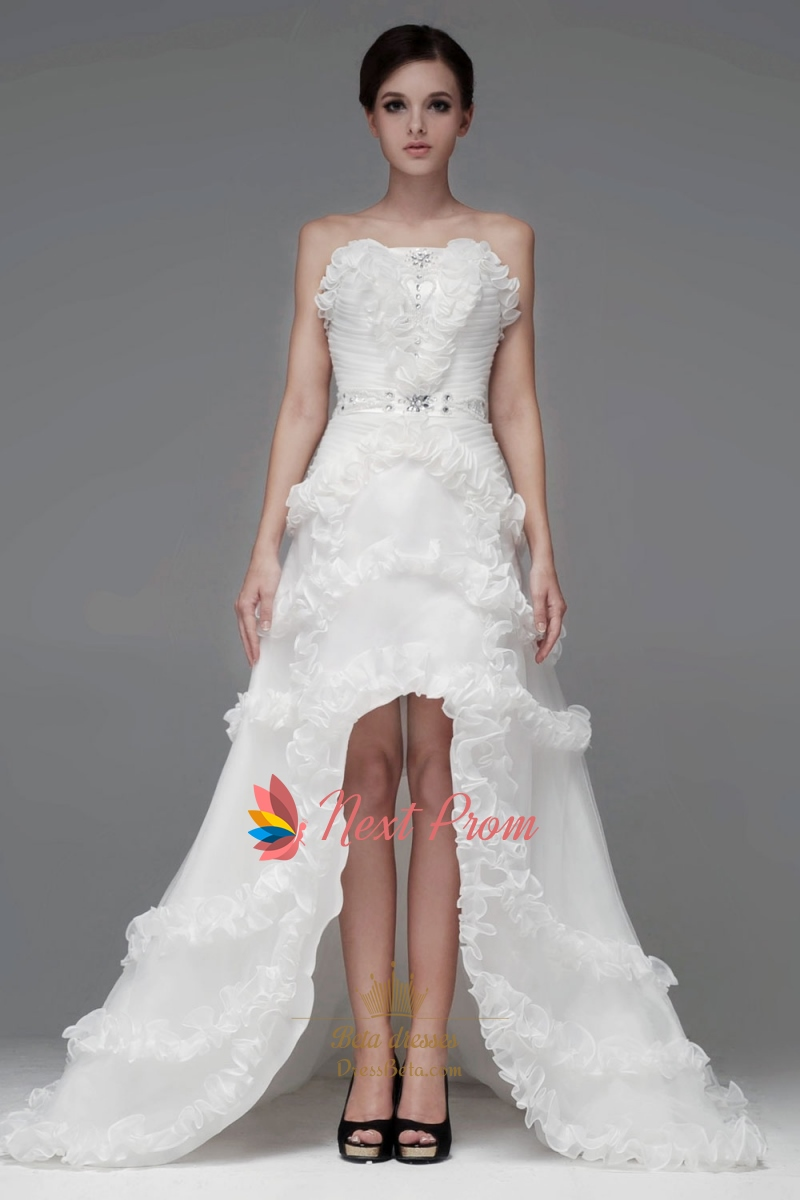 Ruffled Organza Wedding Dress, Strapless High Low Wedding Gowns ...