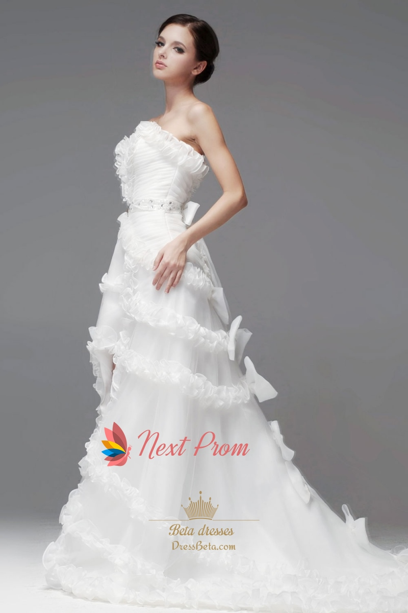 Ruffled organza wedding dress strapless high low wedding for Wedding dress high low