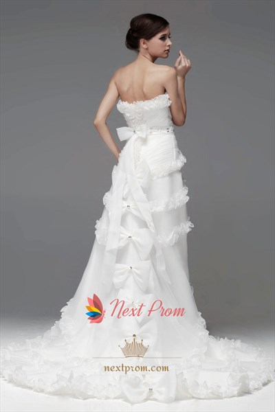Ruffled Organza Wedding Dress, Strapless High Low Wedding Gowns
