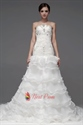 Elegant Strapless Cathedral Organza Tiered Ruched Beaded Wedding Dress